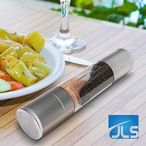 Salt and Pepper Grinder Set, Best Value, Holiday Sale, Premium Quality Stainless Steel 2 in 1 Dual Action-Double Ended Combo, Two Mills In One for Easy Use, BPA-Free Acrylic Body, Adjustable Mechanism, Also for Dry Herbs and Spices, Perfect Kitchenaid