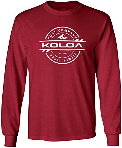 - Joe's USA Koloa Surf Thruster Logo Long Sleeve Cotton T-Shirt-Cardinal/w-XL