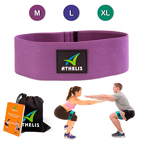 ATHELIS Hip Band | Thick Booty Resistance Circle Loop (Size: M) Men & Women, Workout Guide & Bag- Made Special Non-Slip Cotton, Ideal Glutes, Legs & Thighs