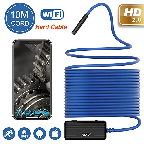 Wireless Endoscope THZY 1200P HD 10m WiFi Borescope Inspection Camera 2.0 Megapixels Snake Camera for Android iOS Smartphone, iPhone, Tablet iPad Blue (Sewer Snake Camera)