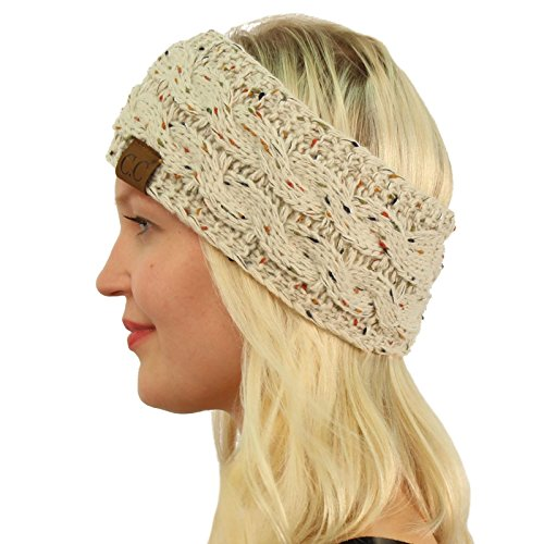 Winter CC Confetti Fuzzy Fleece Lined Thick Knit Headband Headwrap Hat Cap Oatmeal (Headband Womens Fleece)