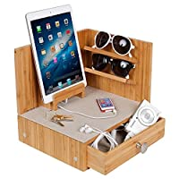 G.U.S. Zen Eco-Friendly Bamboo Corner Multi-Device Charging and Sunglass Station with Drawer