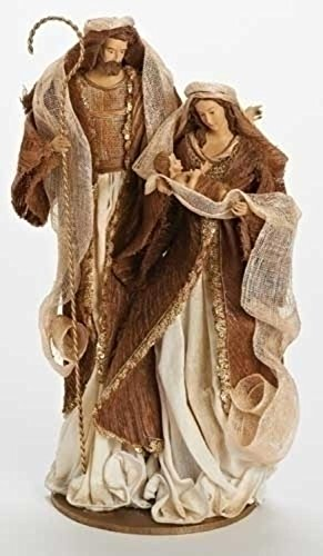 16.75'' Have Faith Fabric Mache Ivory and Copper Holy Family Christmas Nativity Figure by Roman