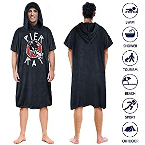 Surf Poncho Water Absorbing Wetsuit Changing Towel Robe with Hood Soft Quick Drying Beach Bath Coverup for Men Women…