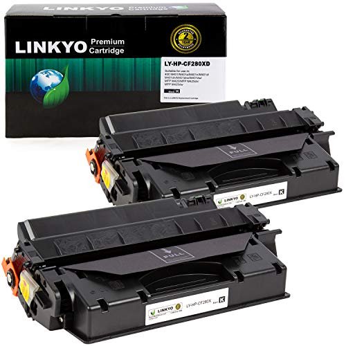 LINKYO Compatible Toner Cartridge Replacement for HP 80X CF280X (Black, High Yield, 2-Pack) (Micr Toner For Hp Laserjet Pro 400 M401n)