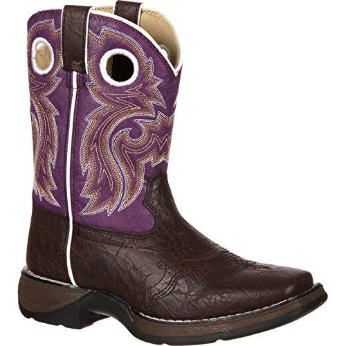 Durango Kids BT386 Lil' 8 Inch Saddle,Dark Brown/Purple,5.5 M US Big Kid