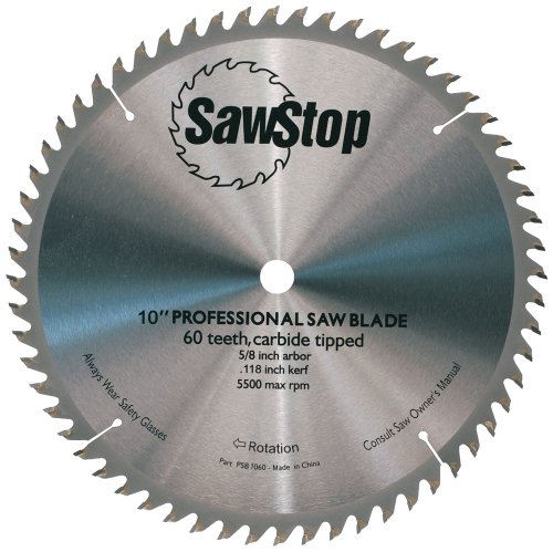 SawStop CB104-184 60-Tooth Combination Table Saw Blade, 10-Inch with 5/8-Inch Arbor ()