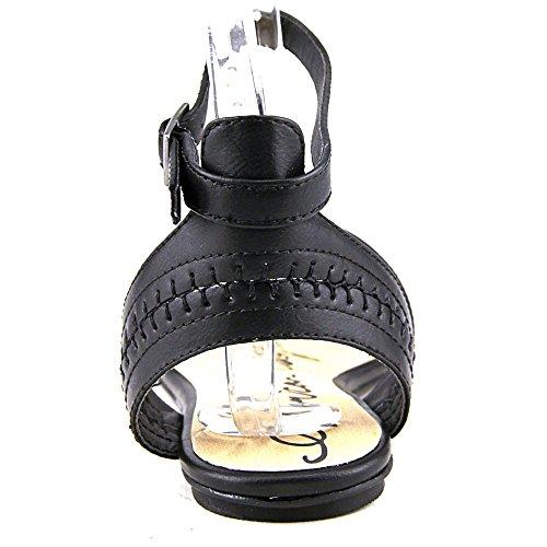 Sandali Con Cinturino Alla Caviglia Casual Da Donna Americana In Panno Nero