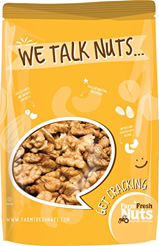 WALNUTS - RAW Shelled CALIFORNIA - Great Source of Omega 3 - Super Crunchy - (1 LB) - Farm Fresh Nuts Brand.