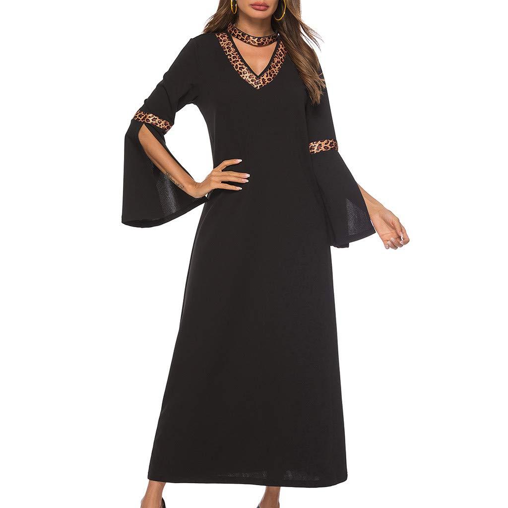 yoyorule Casual Summer Dress Womens Vintage Leopard Print Half Sleeve Ladies V-Neck Ankle-Length Dress