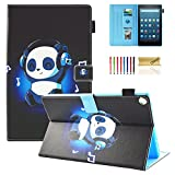 Dteck All-New Fire HD 10 Case - Slim Fit PU Leather Multi-Angle Stand Cover with Photo Frame Auto Wake/Sleep for Amazon Kindle Fire HD 10.1'' Tablet (7th Generation, 2017 Release), Music Panda
