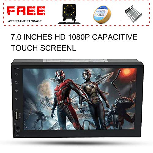 (Upgraded 7 Inch Double Din Capacitive Touch Screen Car Stereo Radio Headunit with Free Rear Camera and Car Tuning Tools and Remote Control Support Mirror Link Audio Receiver MP5 Player)