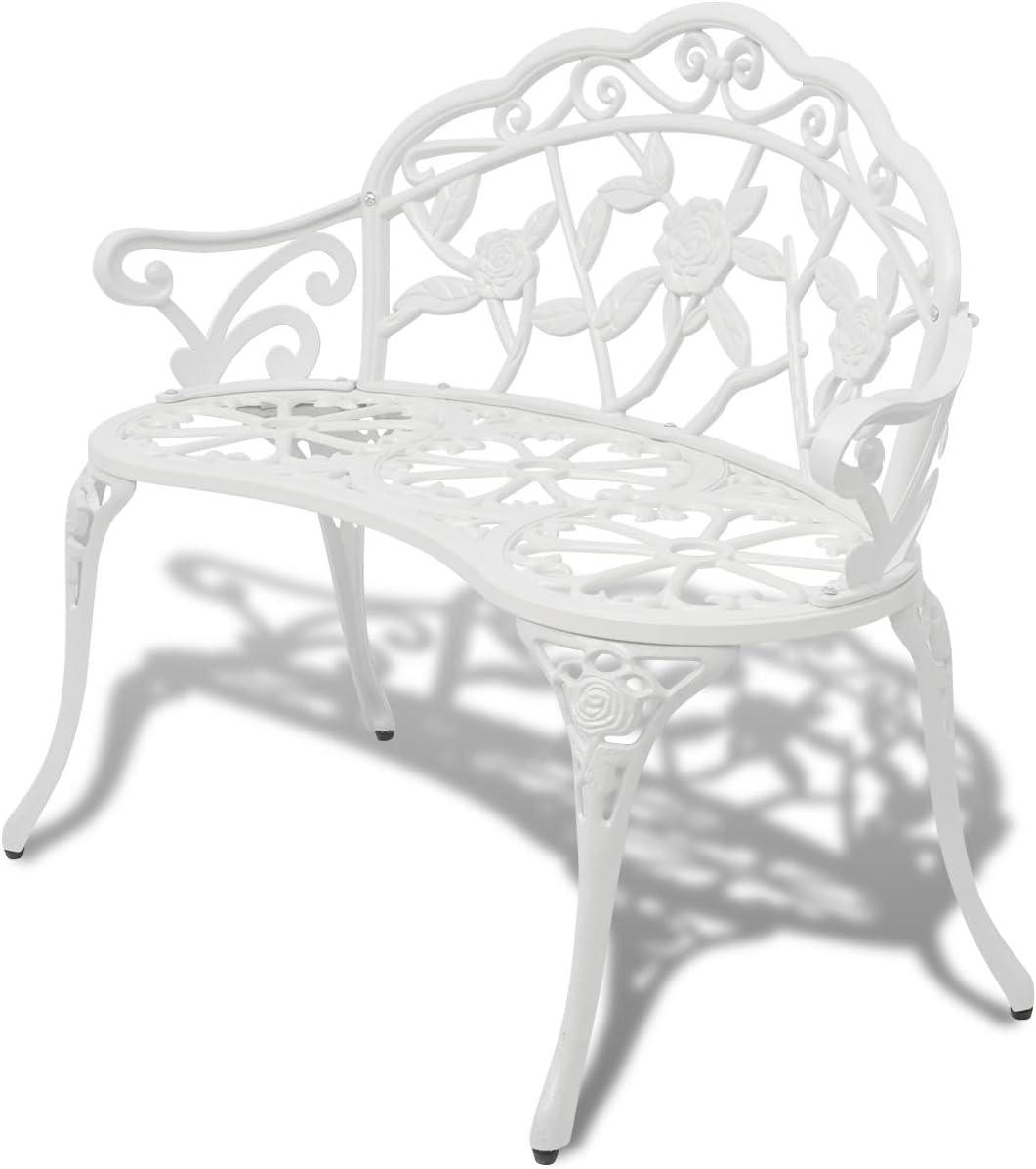 vidaXL Patio Garden Bench Chair Porch Park Cast Aluminum Outdoor Rose Antique White