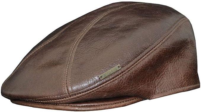 DOBBS ABERNATHY GENUINE LEATHER//WOOL BLEND FLAT IVY CAP