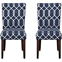 Kinfine Parsons Upholstered Accent Dining Chair, Set of 2, Navy Blue and Lattice Cream