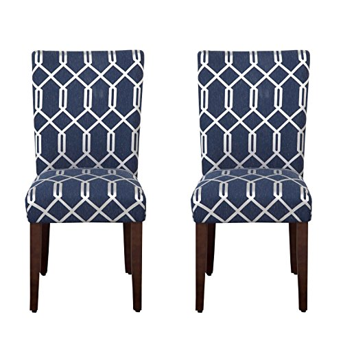 - HomePop Parsons Classic Upholstered Accent Dining Chair, Set of 2, Navy Blue and Lattice Cream