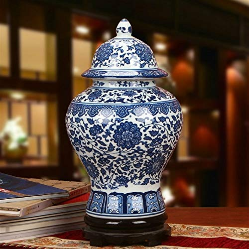 BEITAI Traditional Chinese Antique Ceramic Vase Living Restaurant Table Center Bedroom Office Hotel Bar Home Decor Decorative Vase, 48cm X 25cm X 25cm (18.90in X 9.84in X 9.84in) ()