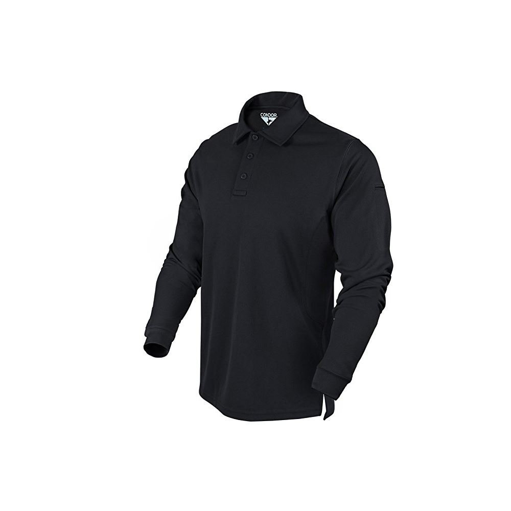 Condor Outdoor Performance Long Sleeve Tactical Polo Shirt (Large, Black)