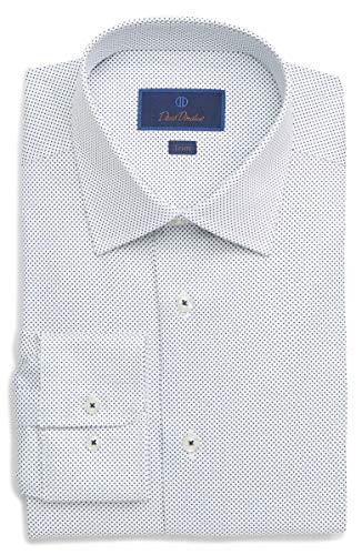 (David Donahue Men's Micro Printed Dot Trim Fit Dress Shirt (16.5 x 36/37, White/Navy))