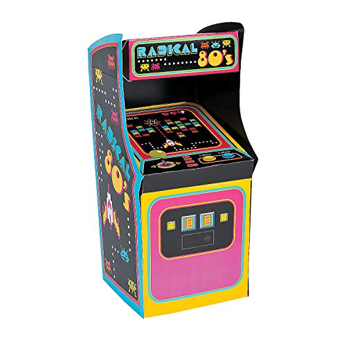 Fun Express Cardboard Totally 80's Arcade Game Machine Centerpiece | 1 Piece | Great for Retro-Themed Birthday Party, Christmas Celebration, Nostalgic Table Decor -