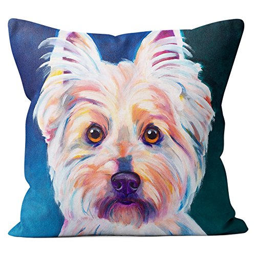 West Highland Terrier Pillow Throw Pillow Couch Cushion Decorative Accent Pillowcase Case Cover Dog Lover Gift Pet Gifts Dogs Colorful Art (18 Inch X 18 Inch Pillow Cover) - West Highland Terrier Throw
