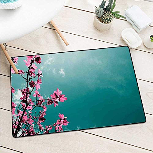 Floral Commercial Grade Entrance Mat Fig Tree Florets with Sunny Sky Exotic Summer Spring Plants Scenic Nature View Catch Dust Snow and Mud (W29.5 X L39.4 inch,Teal Hot Pink)
