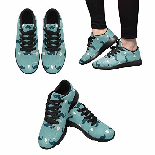 InterestPrint Womens Trail Running Shoes Jogging Lightweight Sports Walking Athletic Sneakers Vintage Style Cute Mustaches and hearts Multi 1 zQBn1HREMx