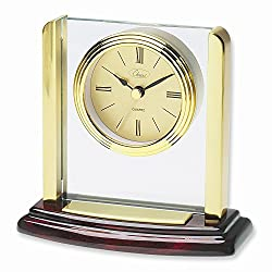 ICE CARATS Mahogany Finish Small Pillar Clock Desk Table Office Fashion Jewelry Gifts for Women for Her