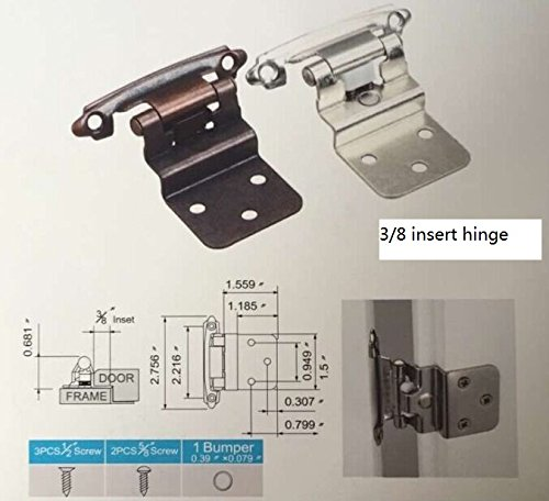 East West Consolidated 62726 Self Closing 3/8 inch Offset Inset Cabinet Hinges Satin Nickel SN (Pack Of 25 Pair) by EAST WEST CONSOLIDATED (Image #4)