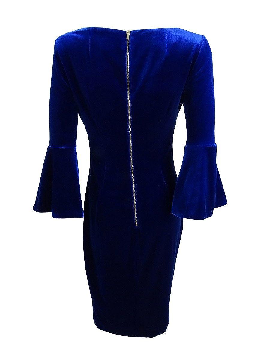 143d2181662 Calvin Klein Women s Bell Sleeve Velvet Sheath CD7V133E Sapphire 10 at  Amazon Women s Clothing store