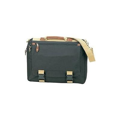 Two-tone Deluxe Expandable Working Briefcase- Black w/ Khaki Trim