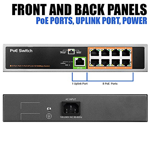 BV-Tech 9 Port PoE Switch (8 PoE Ports | 1 Uplink Port) – 120W – 802.3af by BV-Tech (Image #1)