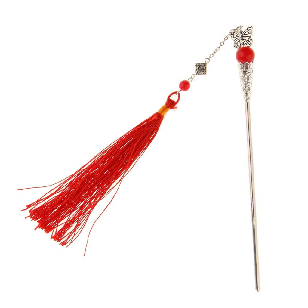 Baosity Japanese Kanzashi Hair Stick Pin with Fringed Tassel Kumi Hair Ornament Gift