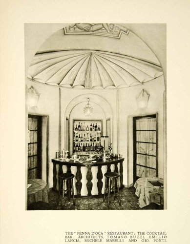 1928 Print Architecture Interior Design Cocktail Bar Restaurant Milan Archway - Original Halftone (Archway Poster Print)