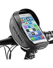 "RockBros Bike Bag, Bike Phone Handlebar Bag Waterproof Bicycle Phone Case Sensitive Phone Mount Bag Holder for iPhone X 8 7 Plus 6s Below 6.0"""