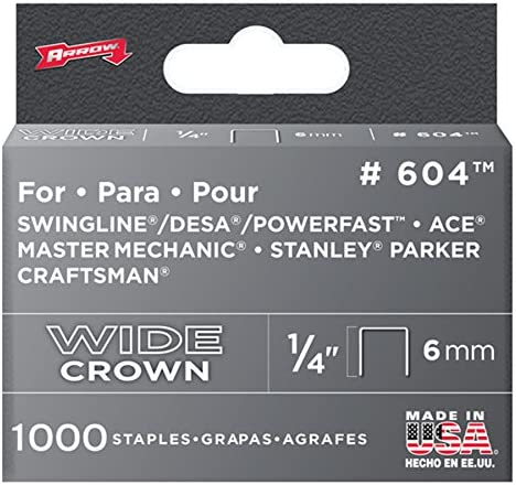 Arrow Fastener 604 Wide Crown Swingline Heavy Duty 1//4-Inch Staples 1,000-Pack