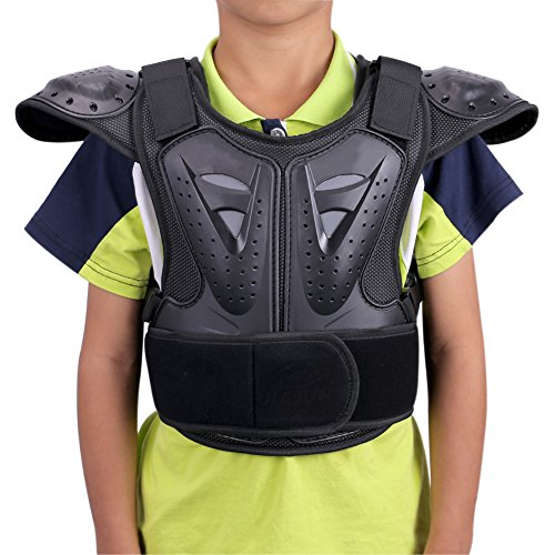 WINGOFFLY Kids Chest Spine Protector Body Armor Vest Protective Gear for Dirt Bike Motocross Snowboarding Skiing, Black M