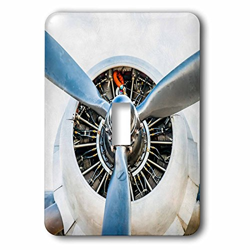 3dRose Alexis Photography - Transport - Piston engine and propeller of a vintage aircraft - Light Switch Covers - single toggle switch (lsp_264066_1)