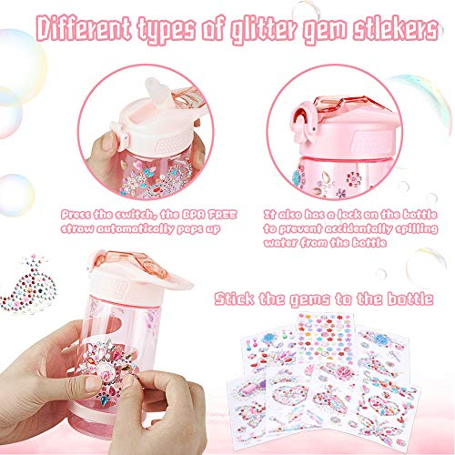 Decorate & Personalize Your Own Water Bottle with Tons of Gem Stickers,Fun DIY Art and Craft Kit for Children,Reusable…