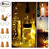 6 Pack Solar Powered Wine Bottle Lights, 10 LED Waterproof Warm White Copper Cork Shaped Lights for Wedding Christmas, Outdoor, Holiday, Garden, Patio Pathway Decor
