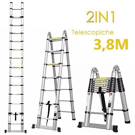 Fixkit Echelle Té lescopique Escabeau Telescopique Echelle Pliante Echelle Escamotable en Aluminium 2.6M/3.2M/3.8M/5M (5M Pliante)