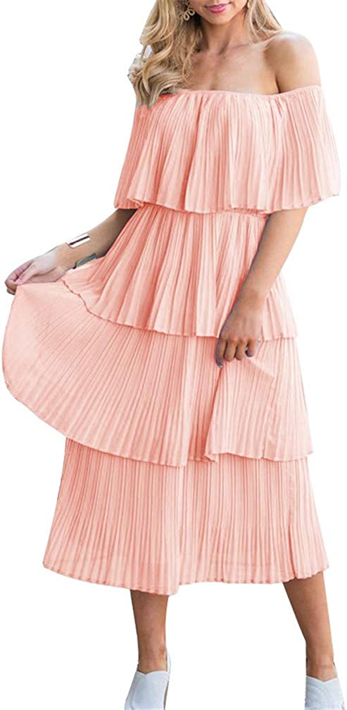 ETCYY NEW Women's Off The Shoulder Sleeveless Tiered Ruffle Pleated Casual Midi Dress