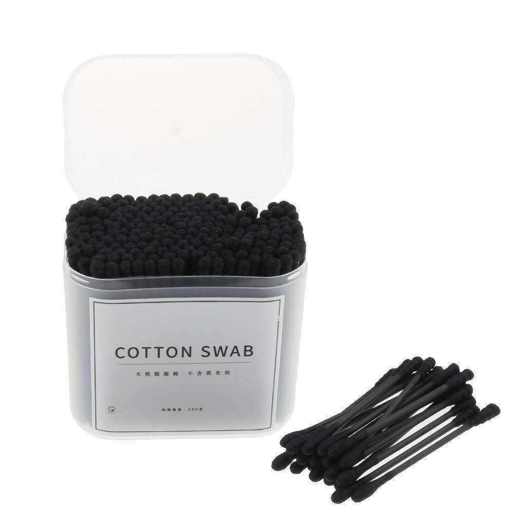 Negro Herramienta de limpieza de o/ídos de algod/ón con mango de madera 1 200 piezas