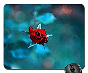 Red Rose Bud Mouse Pad, Mousepad (Flowers Mouse Pad, Watercolor style) by runtopwell