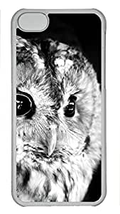Shell Case for iphone 5C with The Owl's Facial Features DIY PC Transparent Hard Skin Case for iphone 5C
