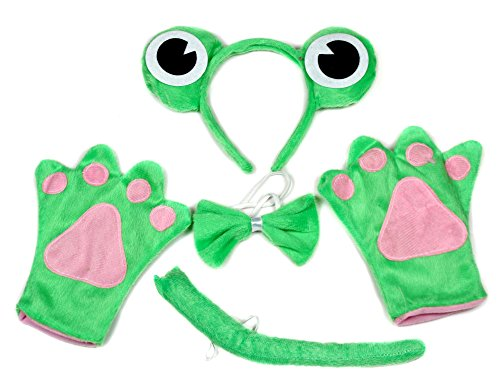 Cute Green Frog (Green Cute Frog Headband Bowtie Tail Gloves 4pc Costume for Child Birthday Party)