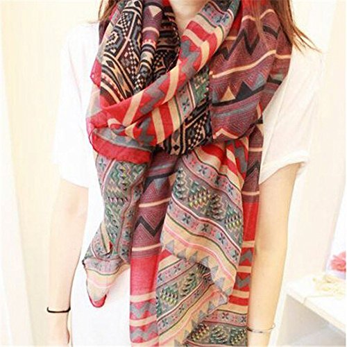 New Lady Vintage Women Long Soft Cotton Voile Print Scarves Shawl Wrap - Chanel Price Sunglasses