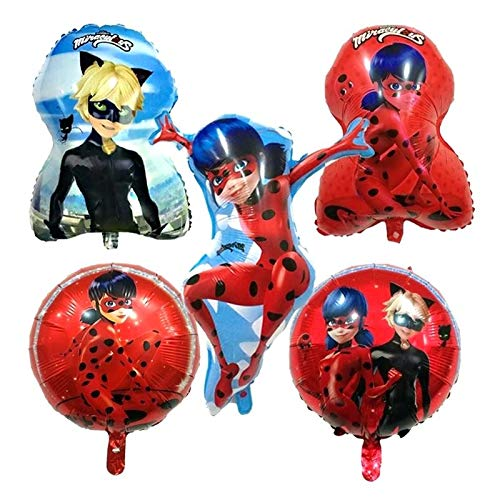 FunBalloons 5pcs Miraculous Ladybug Bouquet of Balloons, Includes