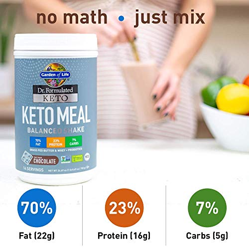 Garden of Life Dr. Formulated Keto Meal Balanced Shake, Chocolate Powder, 14 Servings