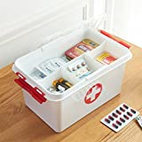 ORPIO (LABEL) Plastic Portable Double Layer Medical Storage Box First Aid Kit Medicine Box (White)